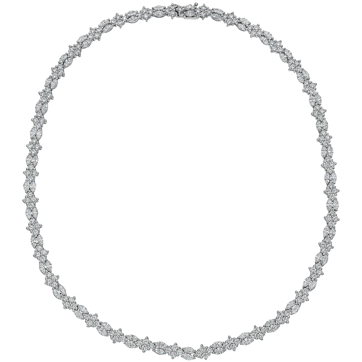 18k White Gold Mixed-Cut Diamond Line Necklace
