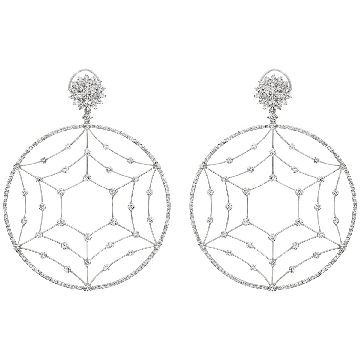 Large Openwork Circle Diamond Drop Earrings