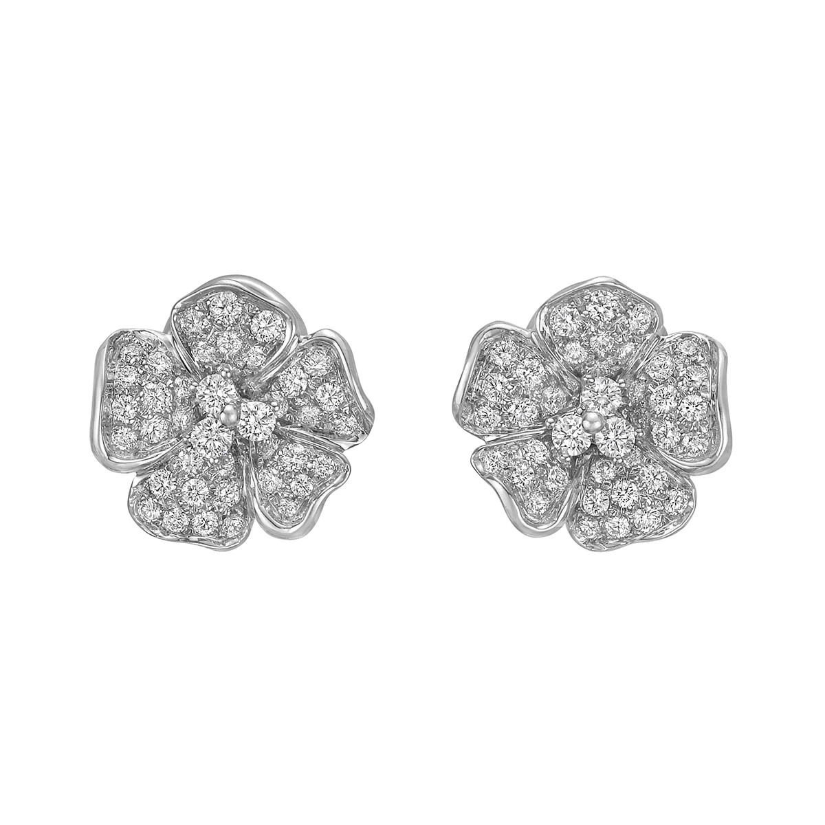 Small 18k White Gold & Diamond Flower Earrings