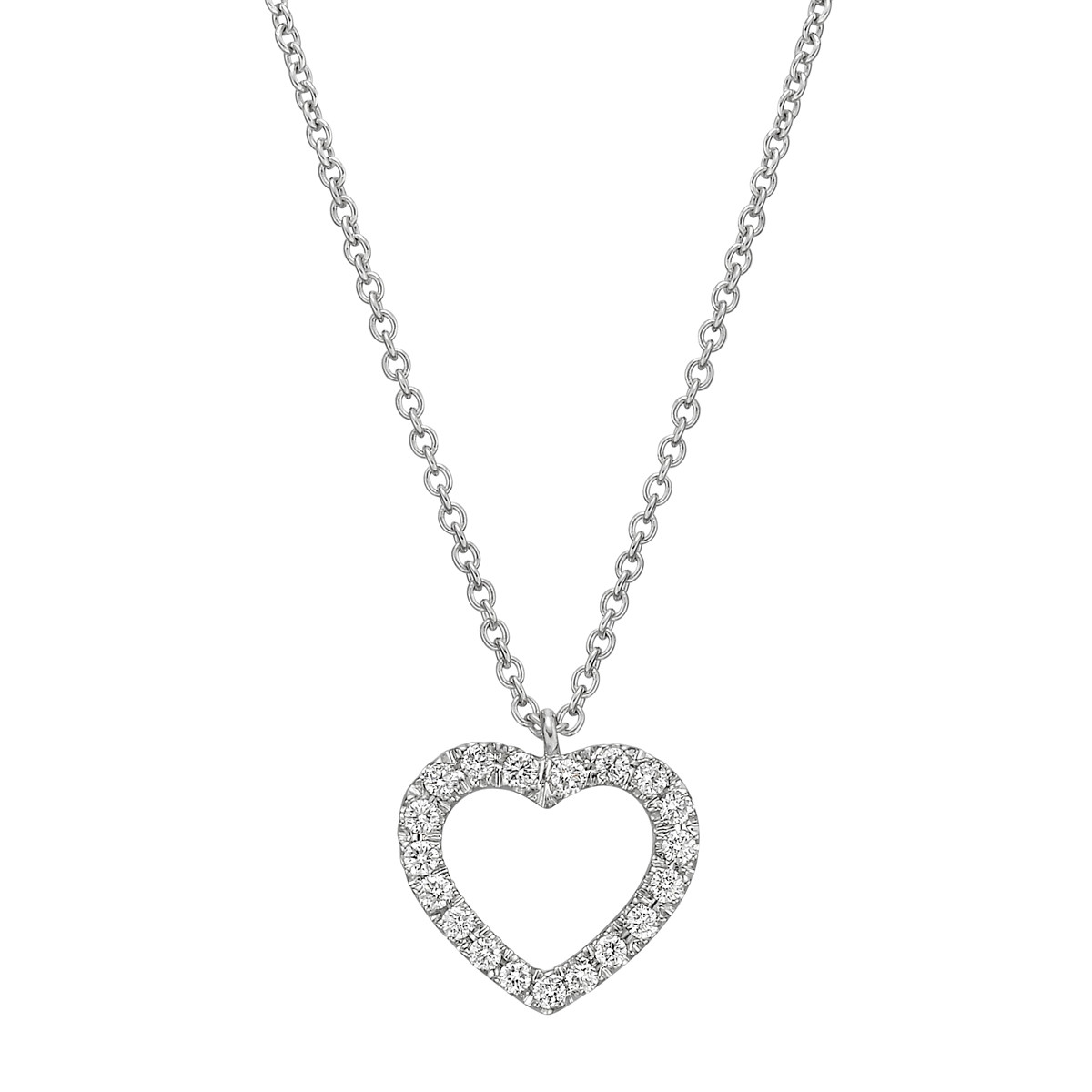 18k White Gold & Diamond Heart Pendant