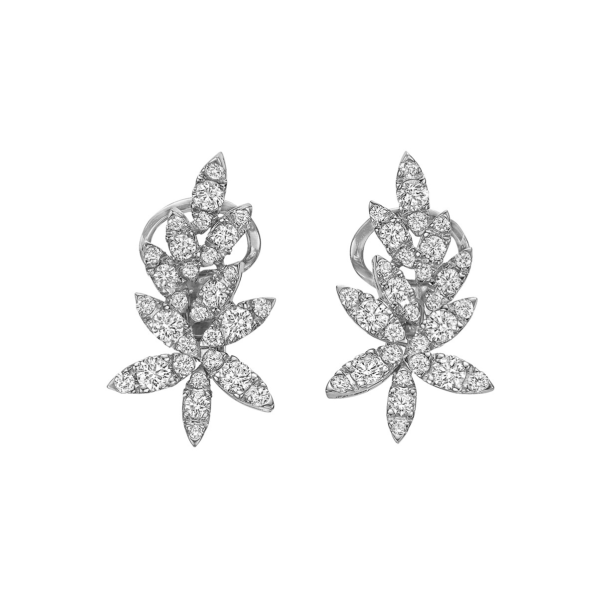 18k White Gold & Diamond Spray Earrings