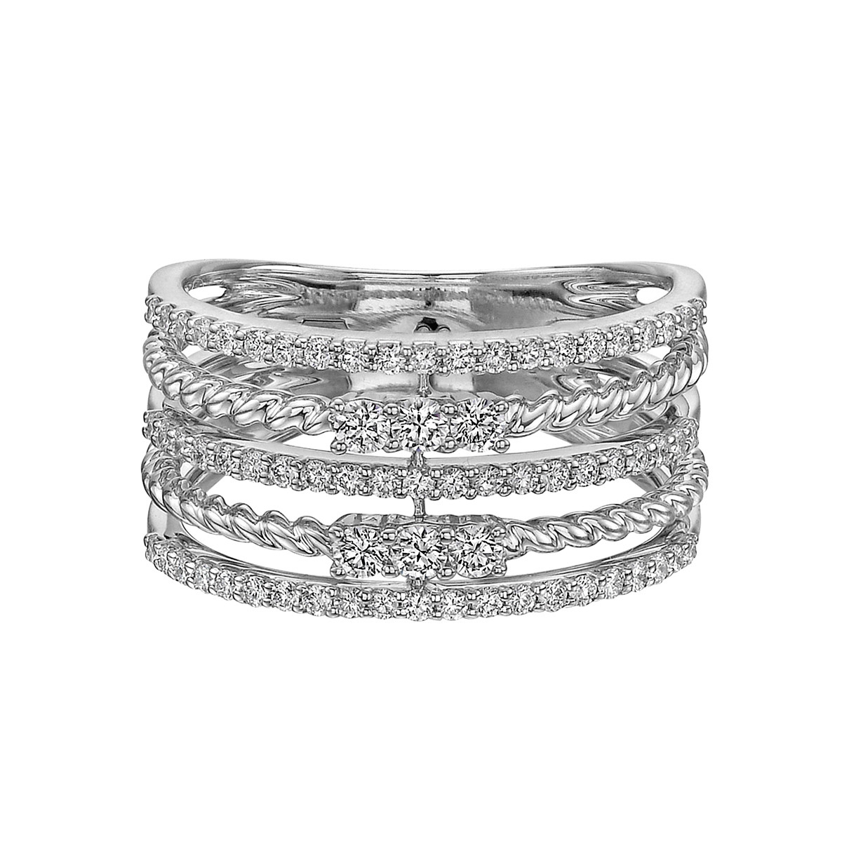 18k White Gold & Diamond 5-Row Ring