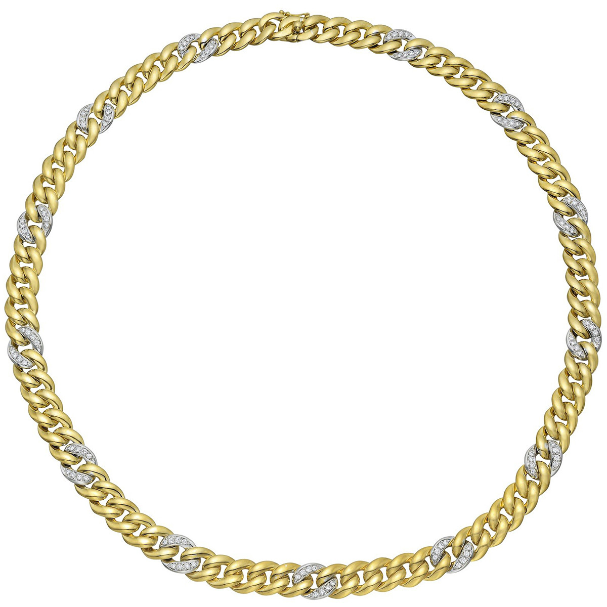18k Gold & Diamond Round Curb Link Necklace