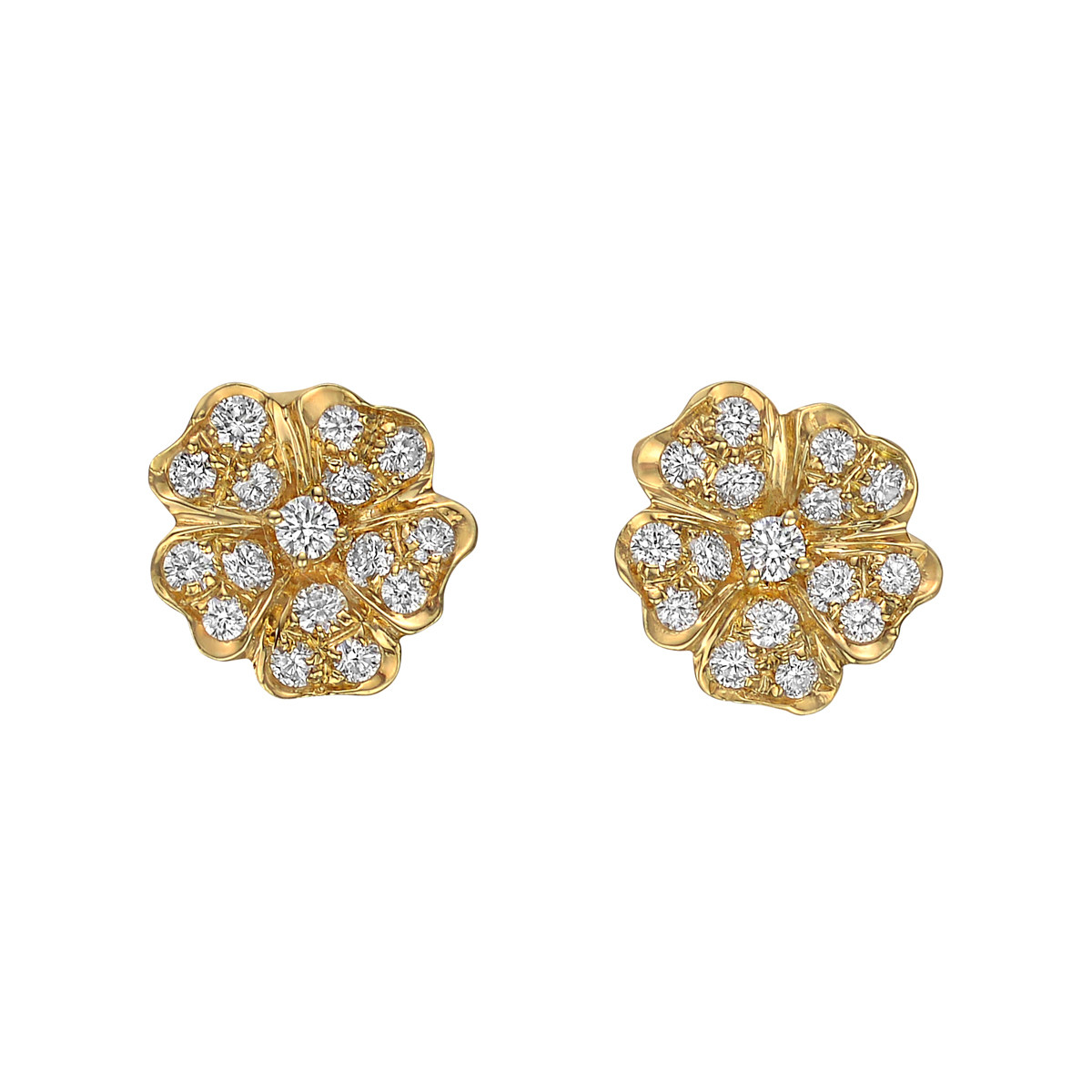 18k Yellow Gold & Diamond Flower Stud Earrings
