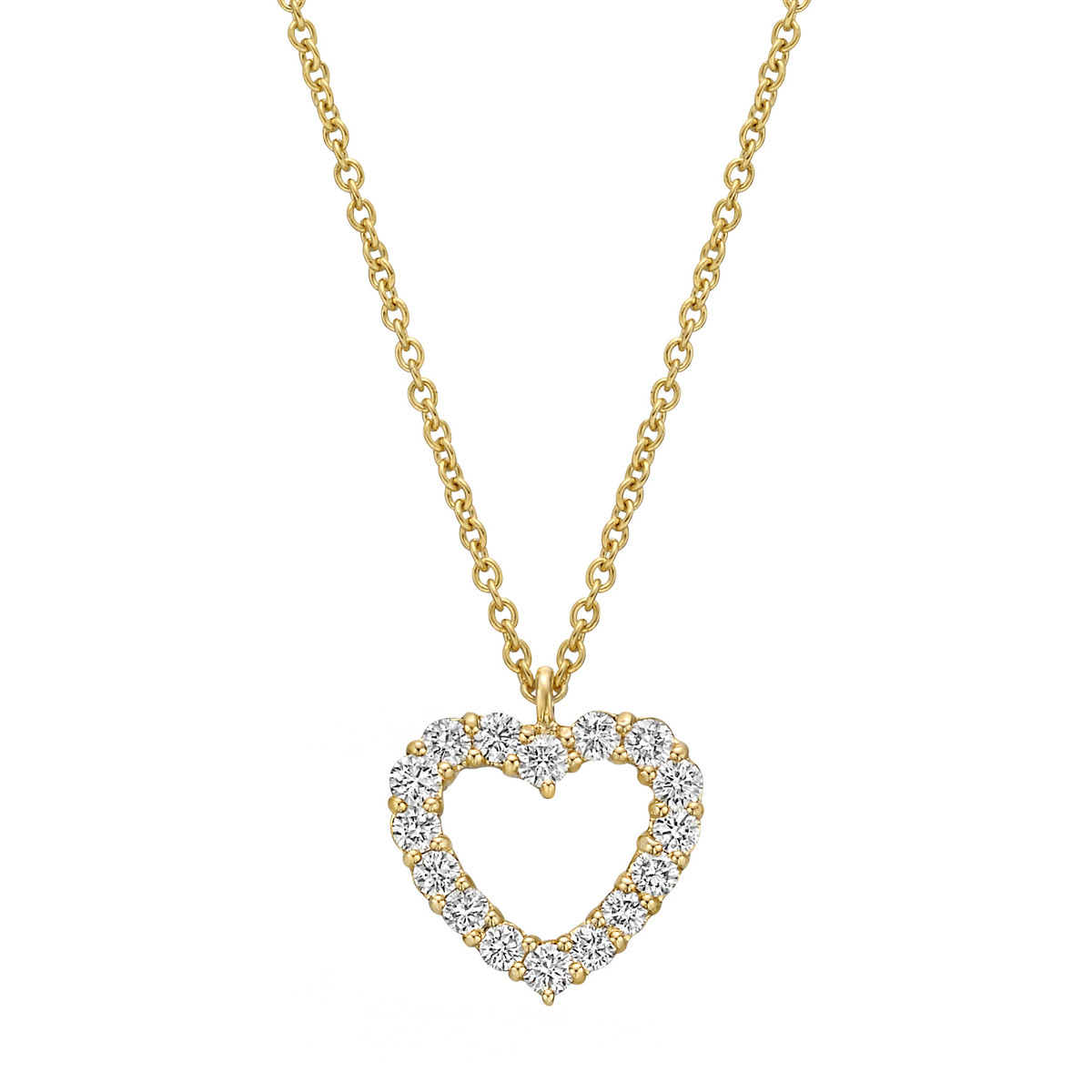 18k Yellow Gold & Diamond Heart Pendant