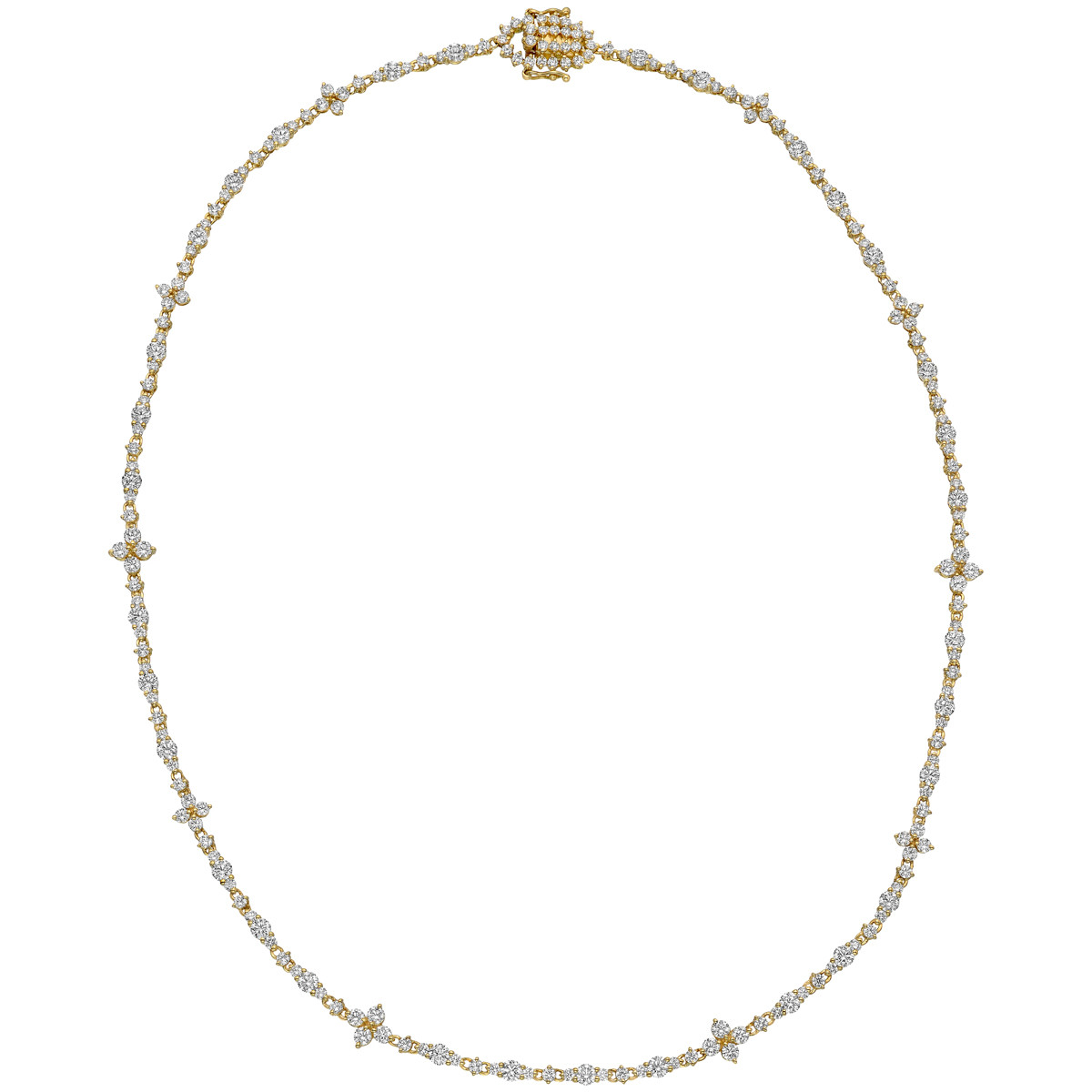 18k Yellow Gold & Diamond Line Necklace
