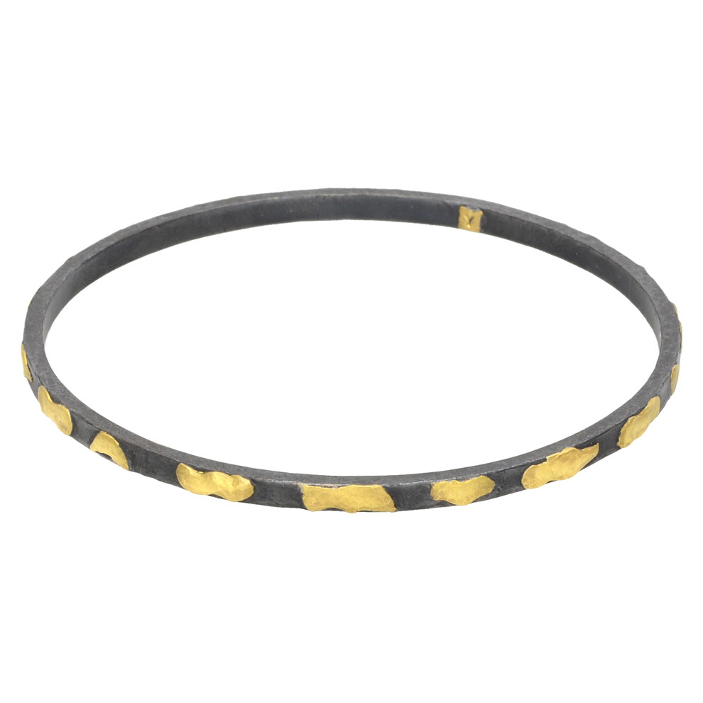 """Libra"" Oxidized Gilver & 24k Gold Bangle"