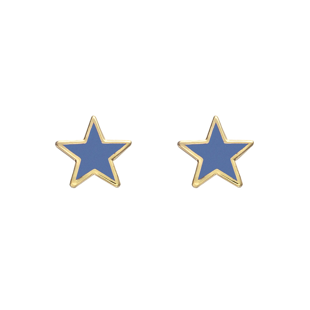 Small 14k Gold Light Blue Enamel Star Earstuds