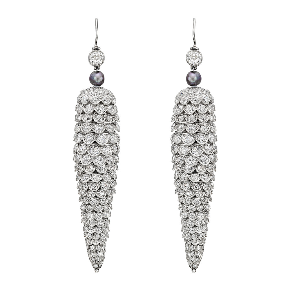Long Flexible Diamond Cone Pendant Earrings