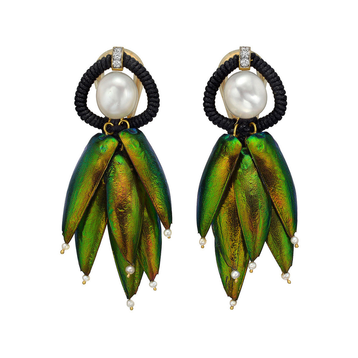 "Pearl & Beetle Wing ""Scarab"" Earrings"