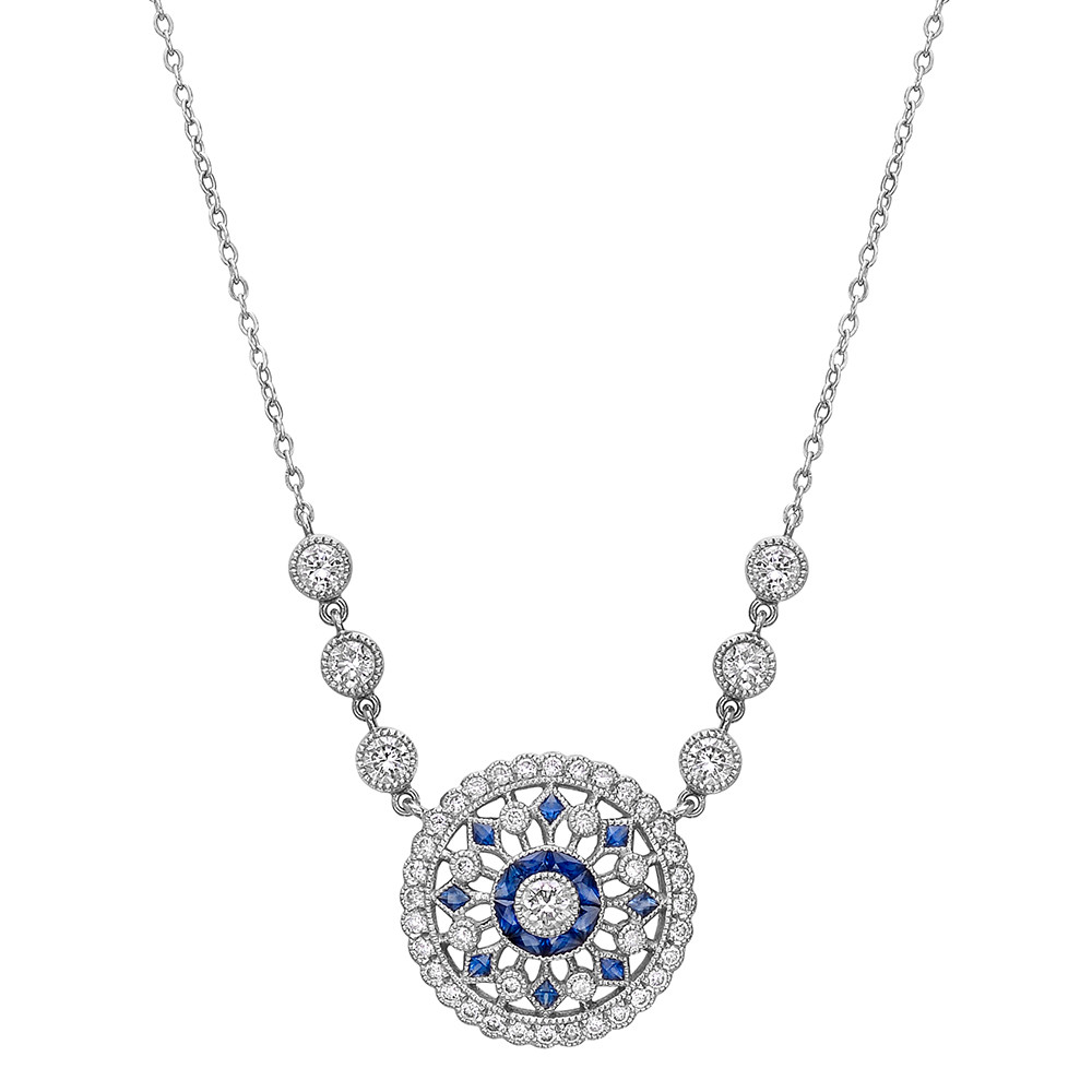 Estate lucie campbell circular sapphire diamond pendant necklace circular sapphire diamond pendant necklace aloadofball Image collections