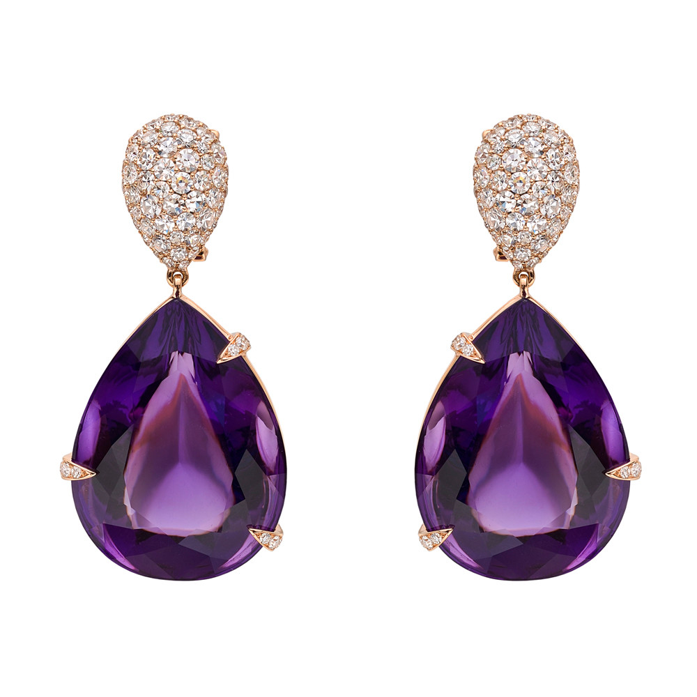Large Pear Shaped Amethyst Drop Earrings In 18k Pink Gold The Amethysts Held With Diamond Set Claw Gs And Suspended From Pavé Single Cut Round