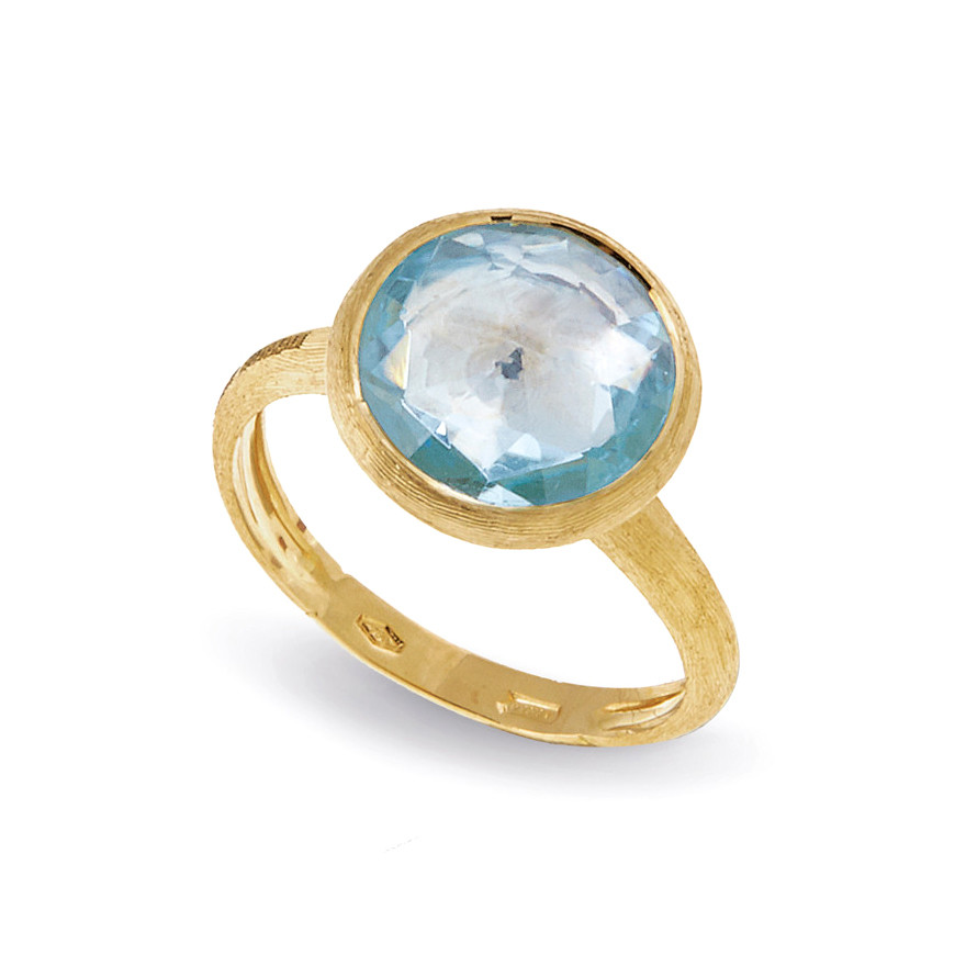 "18k Yellow Gold & Blue Topaz ""Jaipur"" Stackable Ring"