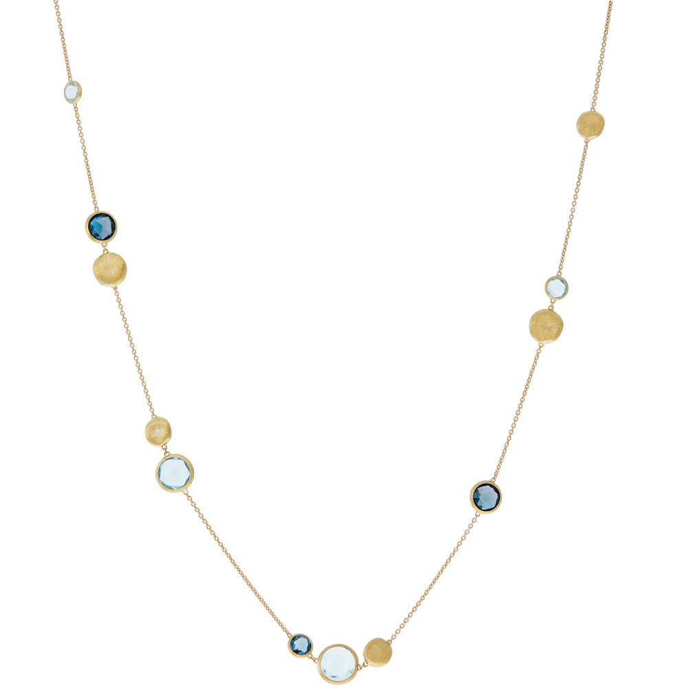 "18k Yellow Gold & Mixed Blue Topaz ""Jaipur"" Necklace"
