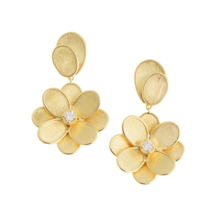 "18k Yellow Gold & Diamond ""Lunaria Petali"" Earrings"