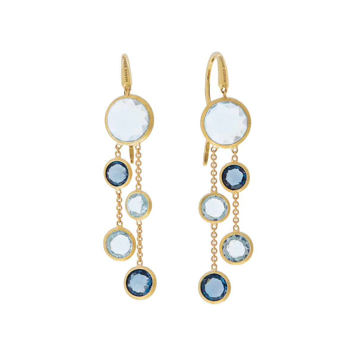"Multi-Shade Blue Topaz ""Jaipur"" 2-Drop Earrings"