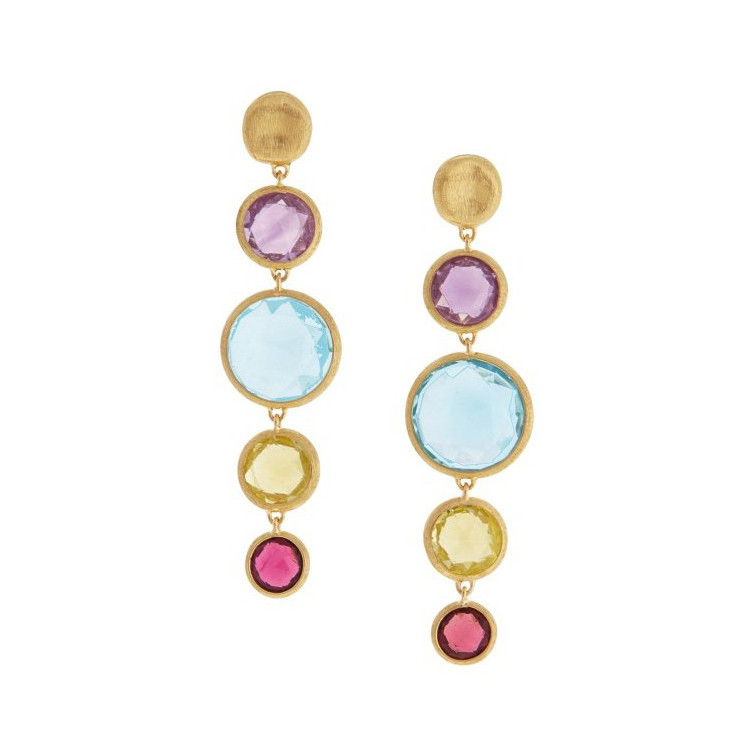 "Multicolored Gemstone ""Jaipur"" Drop Earrings"