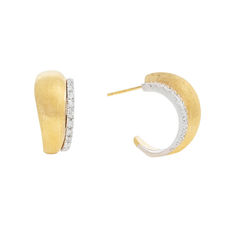 "Small 18k Gold & Diamond ""Lucia"" Hoop Earrings"