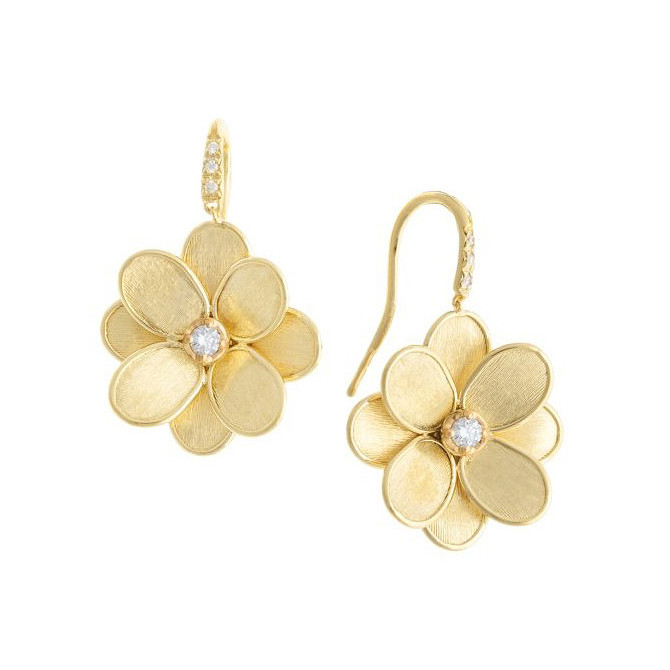 "18k Yellow Gold & Diamond ""Lunaria Petali"" Drop Earrings"