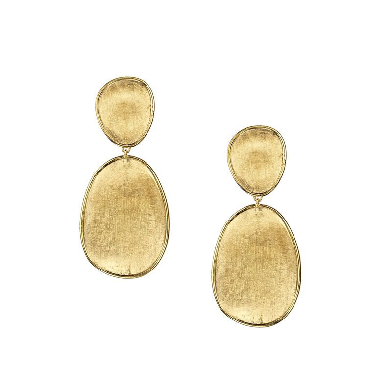 "18k Yellow Gold ""Lunaria"" Double Drop Earrings"