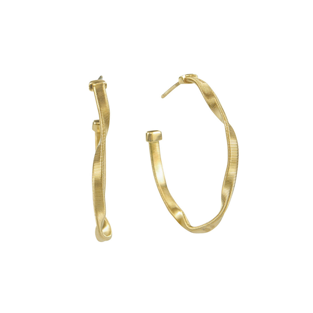 "Medium 18k Yellow Gold ""Marrakech"" Hoop Earrings"