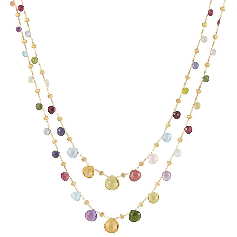Mixed Stone Graduated Long Necklace