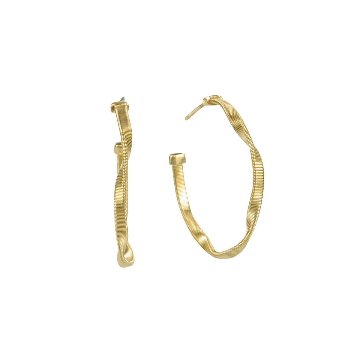 "Small 18k Yellow Gold ""Marrakech"" Hoop Earrings"
