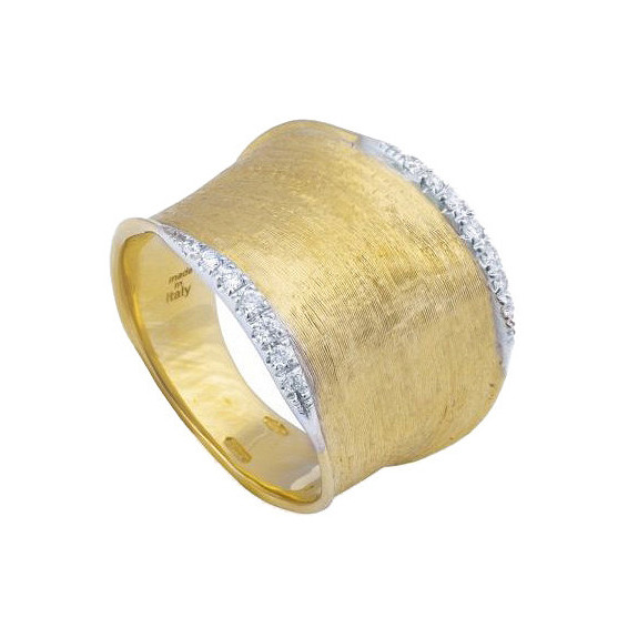 "Medium 18k Gold & Diamond ""Lunaria"" Band Ring"