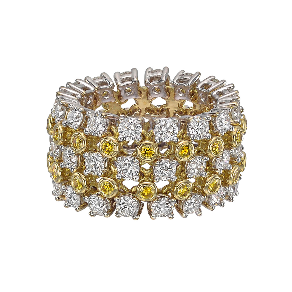 "Maria Canale White & Yellow Diamond ""Jubilee"" Ring"