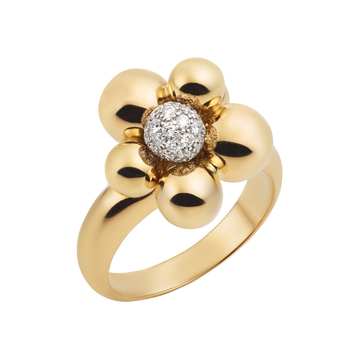 "18k Yellow Gold & Diamond ""Atomo Mini"" Ring"