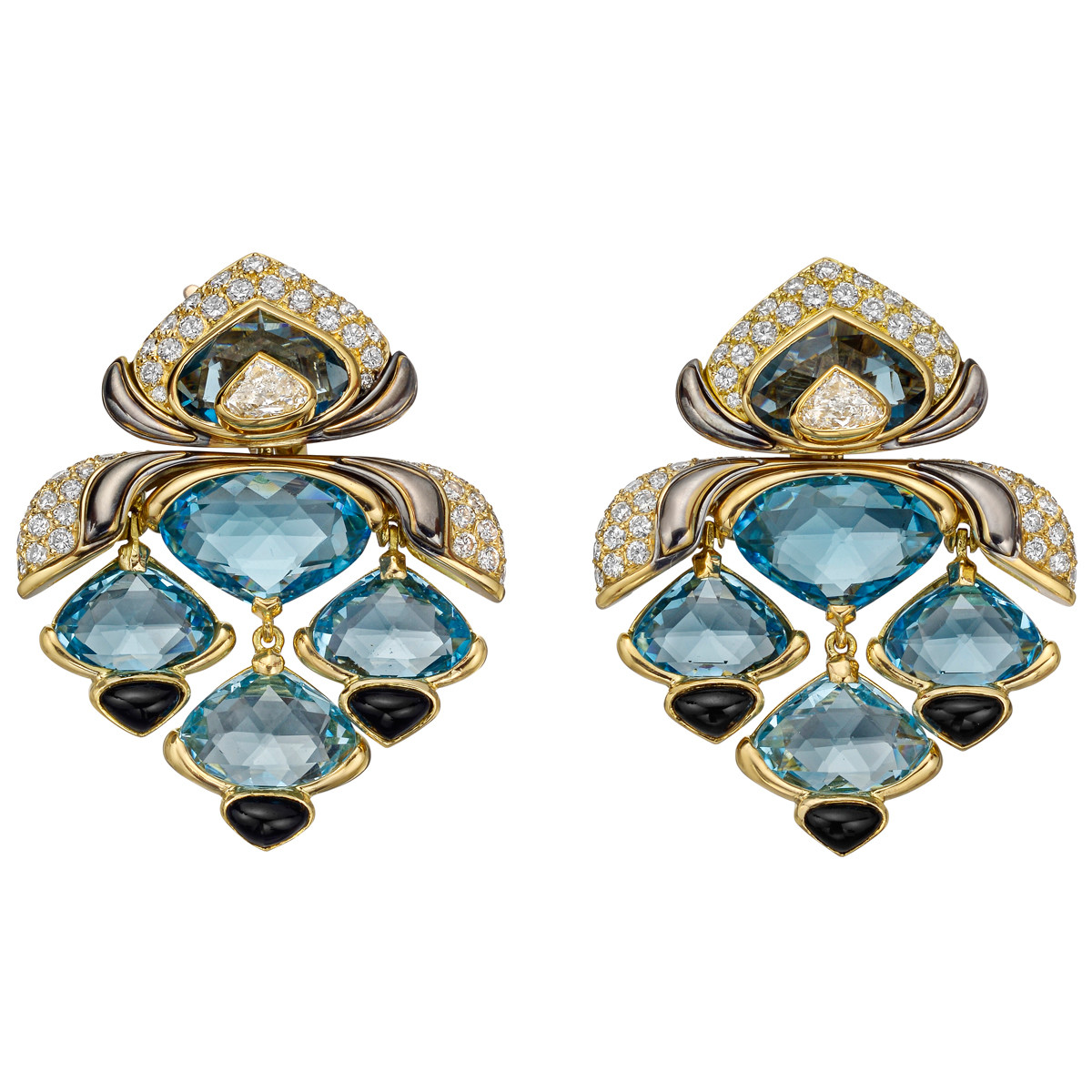 Blue Topaz, Diamond & Black Onyx Drop Earrings