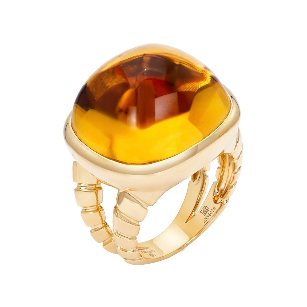 "18k Yellow Gold & Citrine ""Tigella"" Ring"