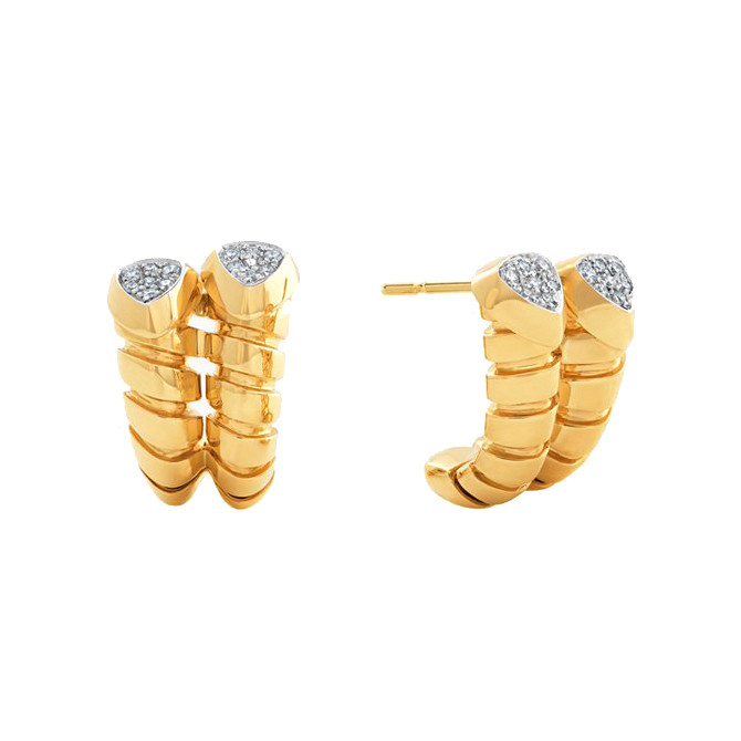"18k Yellow Gold ""Trisolina"" Hoop Earrings"
