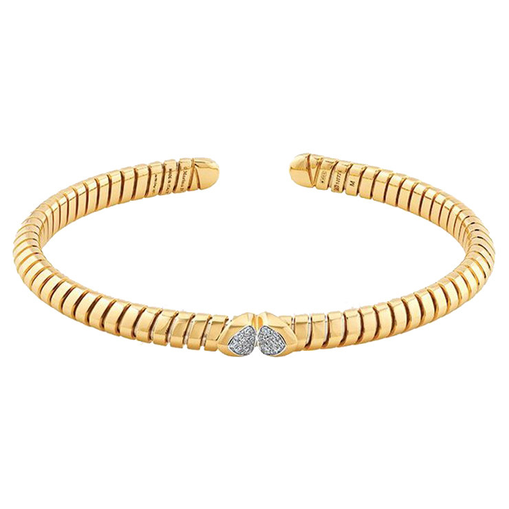 "18k Yellow Gold & Diamond ""Trisolina"" Bangle"