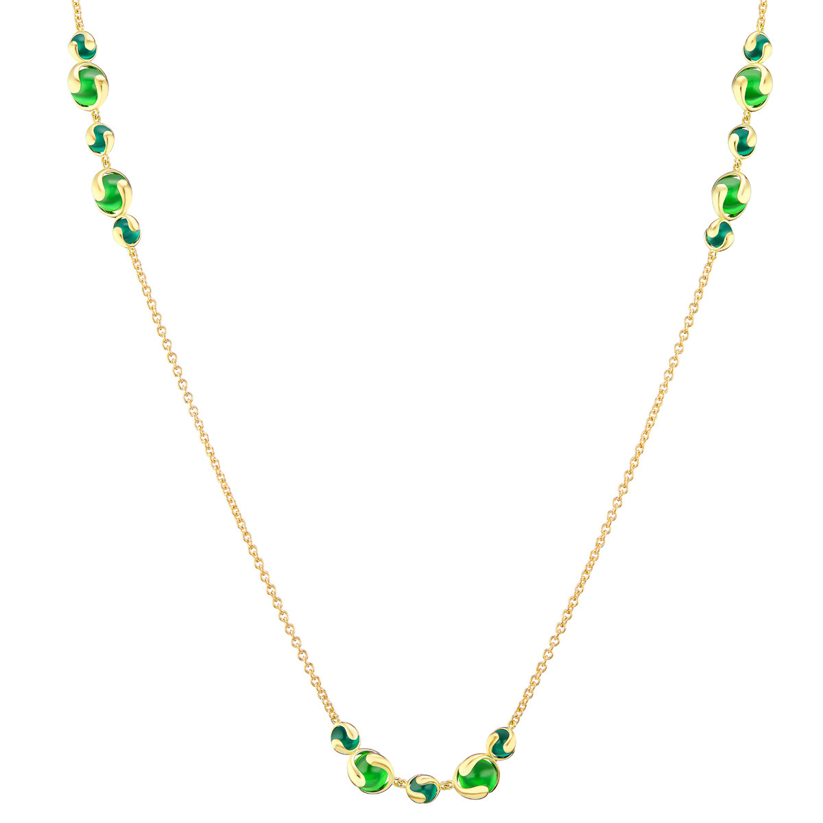 "18k Yellow Gold & Green Quartz ""Cardan"" Necklace"