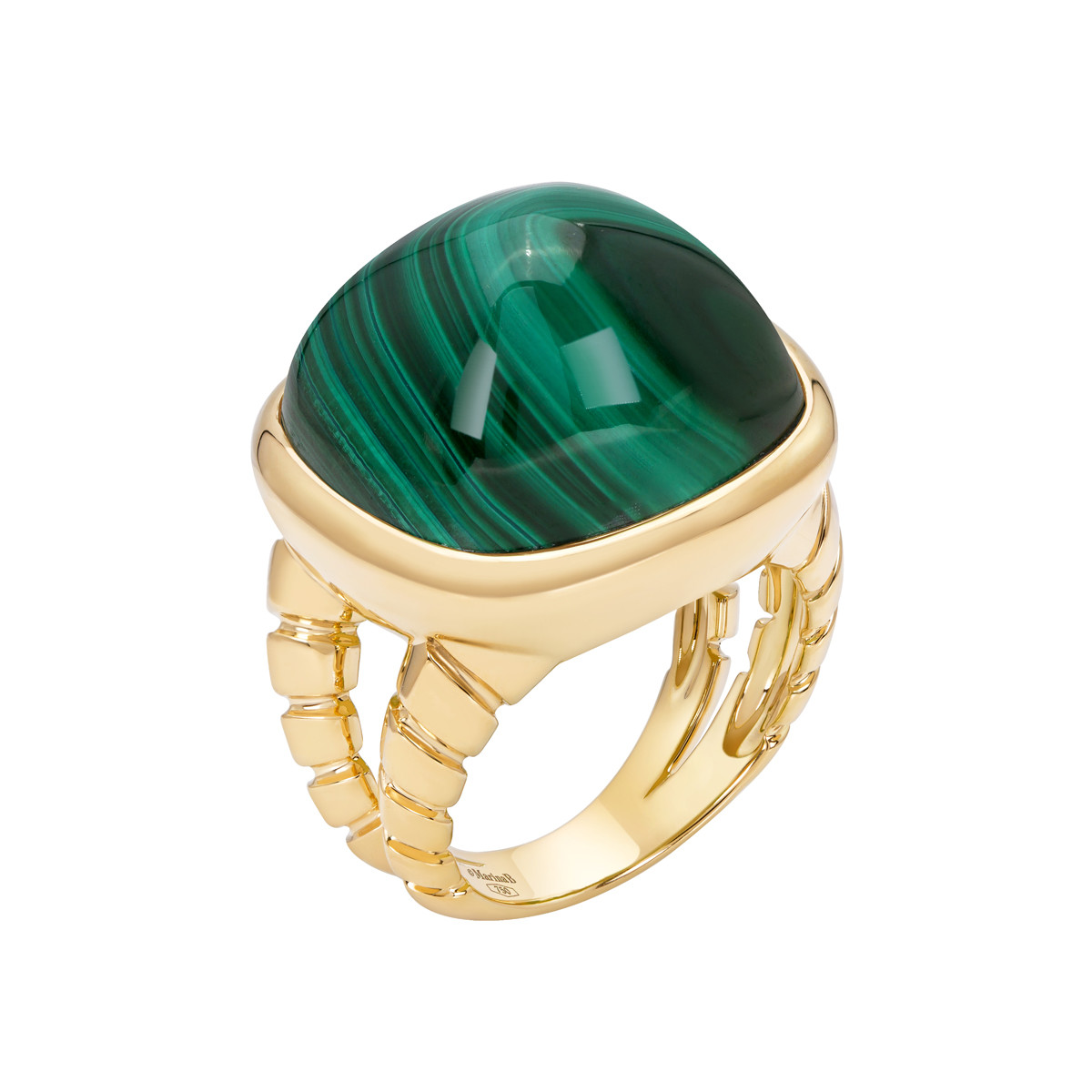 "18k Yellow Gold & Malachite ""Tigella"" Ring"