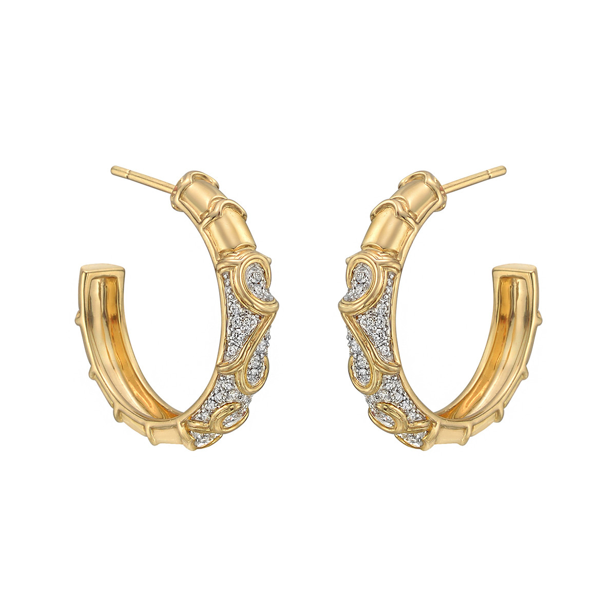 "18k Yellow Gold & Diamond ""Onda"" Hoop Earrings"
