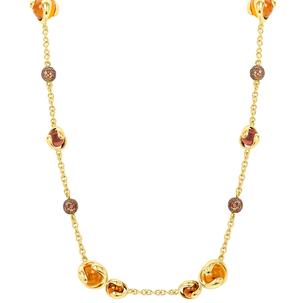 "Orange Sapphire, Garnet & Quartz ""Cardan"" Necklace"