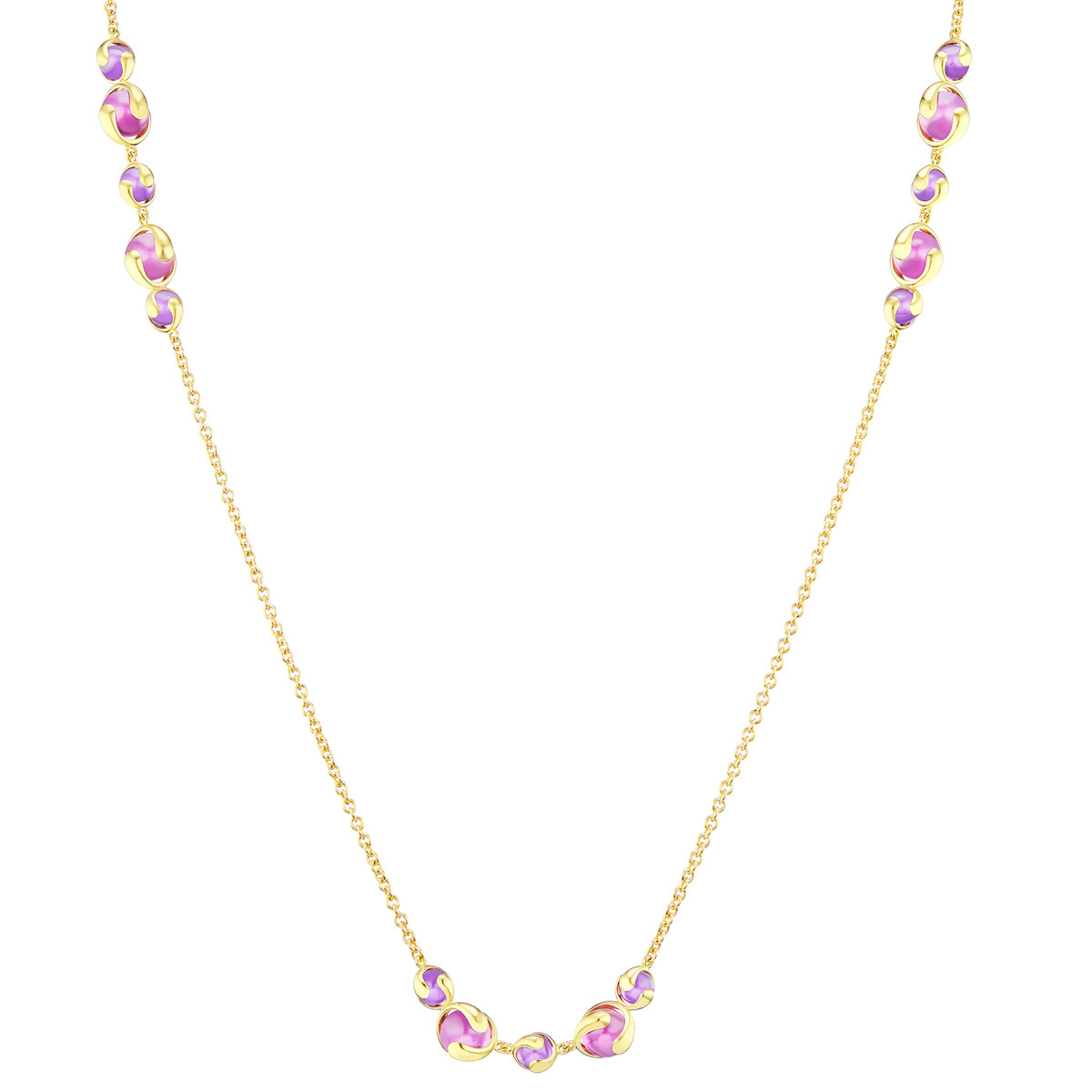 "18k Yellow Gold & Purplish-Pink Quartz ""Cardan"" Necklace"