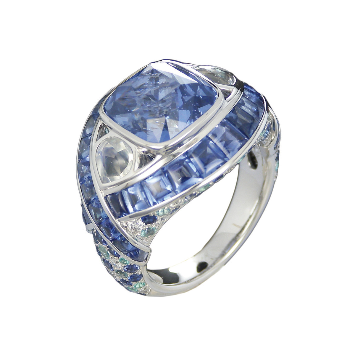 "Sapphire & Moonstone ""Zipna"" Cocktail Ring"
