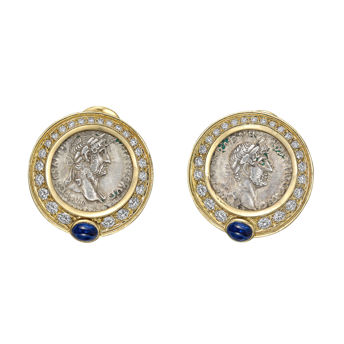 18k Yellow Gold, Diamond & Silver Coin Earrings