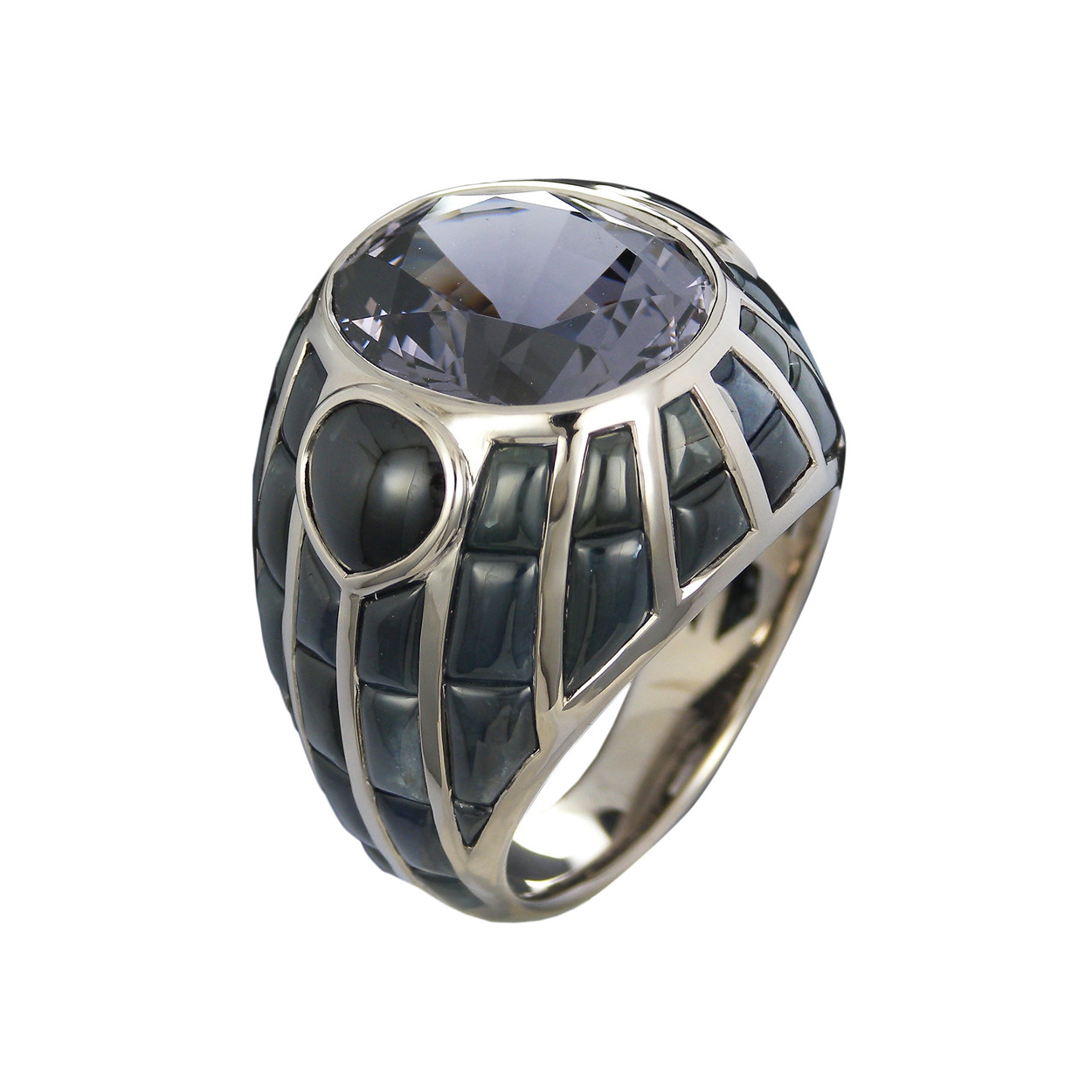 "Spinel & Onyx ""Losna"" Cocktail Ring"