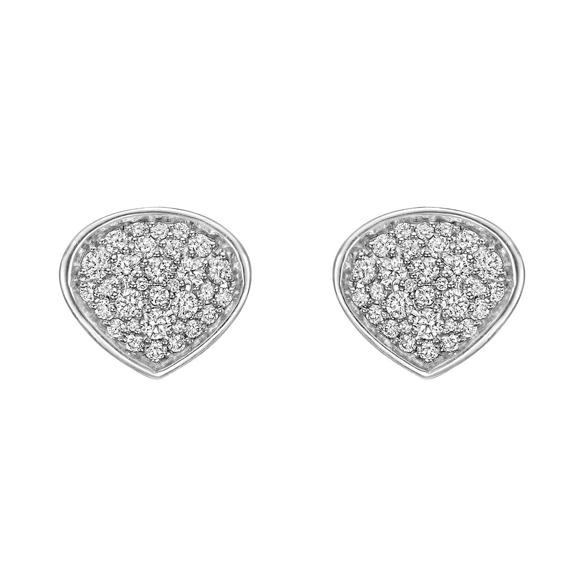 "18k White Gold & Pavé Diamond ""Trisola"" Earrings"
