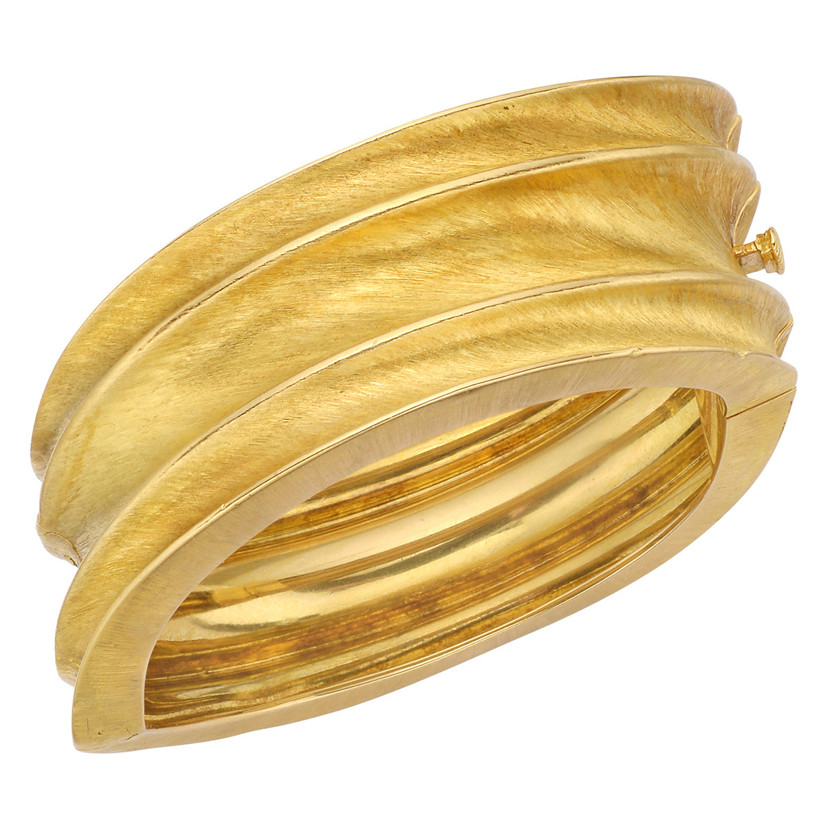 Textured 18k Yellow Gold Hinged Bracelet