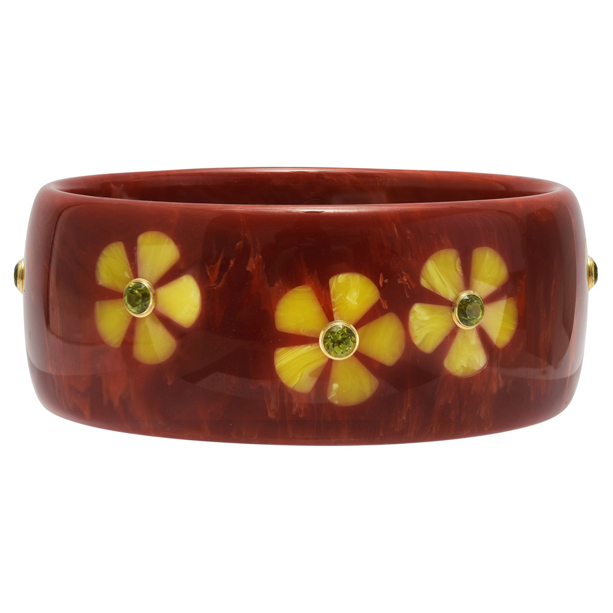 Dark Reddish-Orange & Yellow Flower Inlay Bakelite Bangle with Peridot