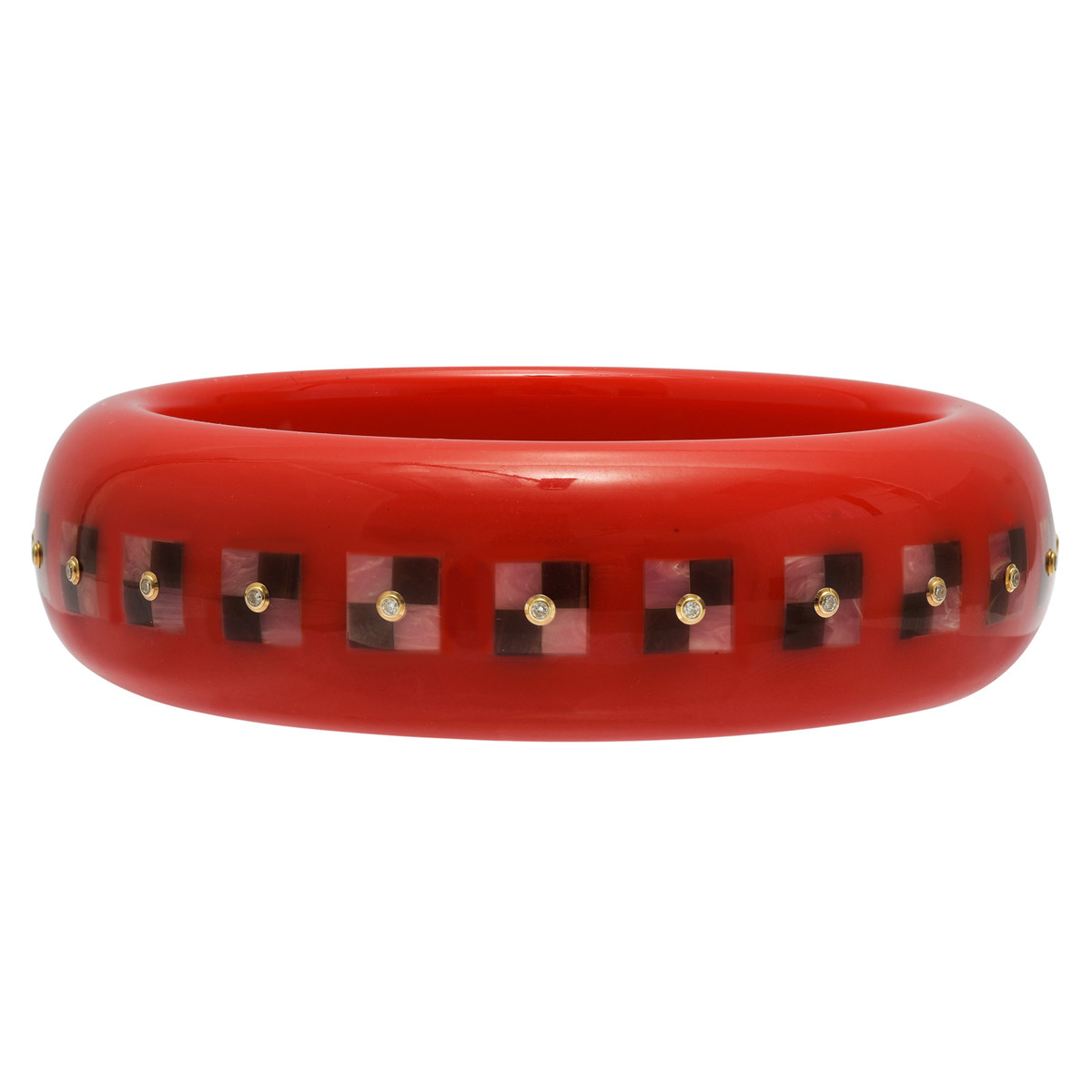 Red Bakelite Bangle with Pink & Brown Inlay and Diamond