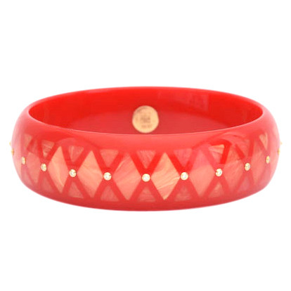 Red & Pink Inlay Bakelite Bangle with Diamond