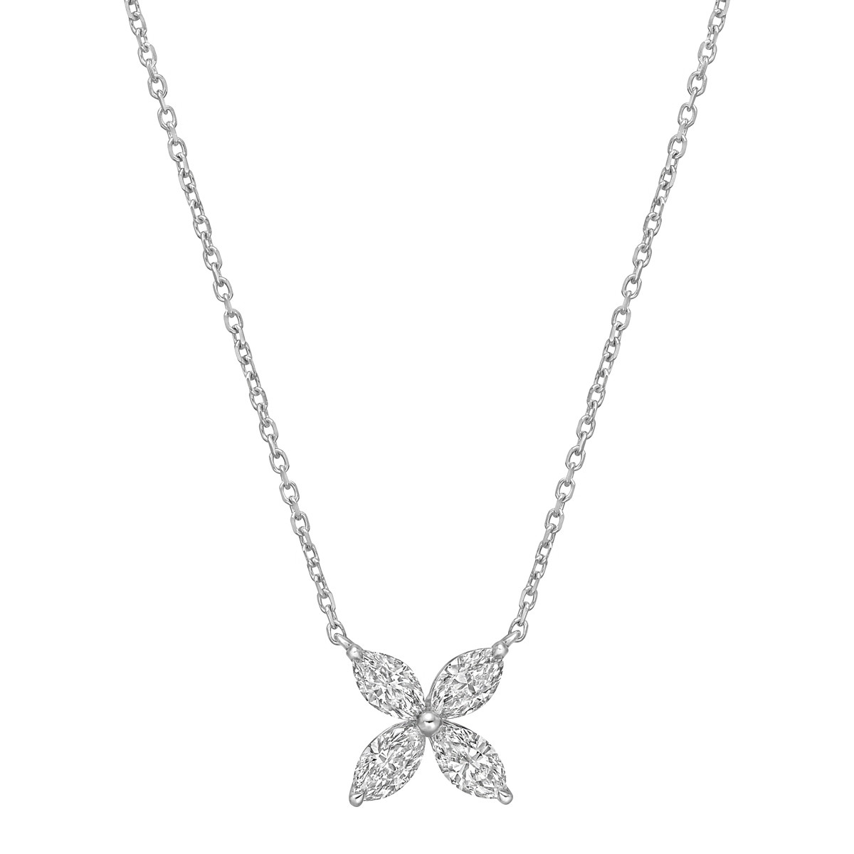 Small Marquise Diamond Flower Pendant