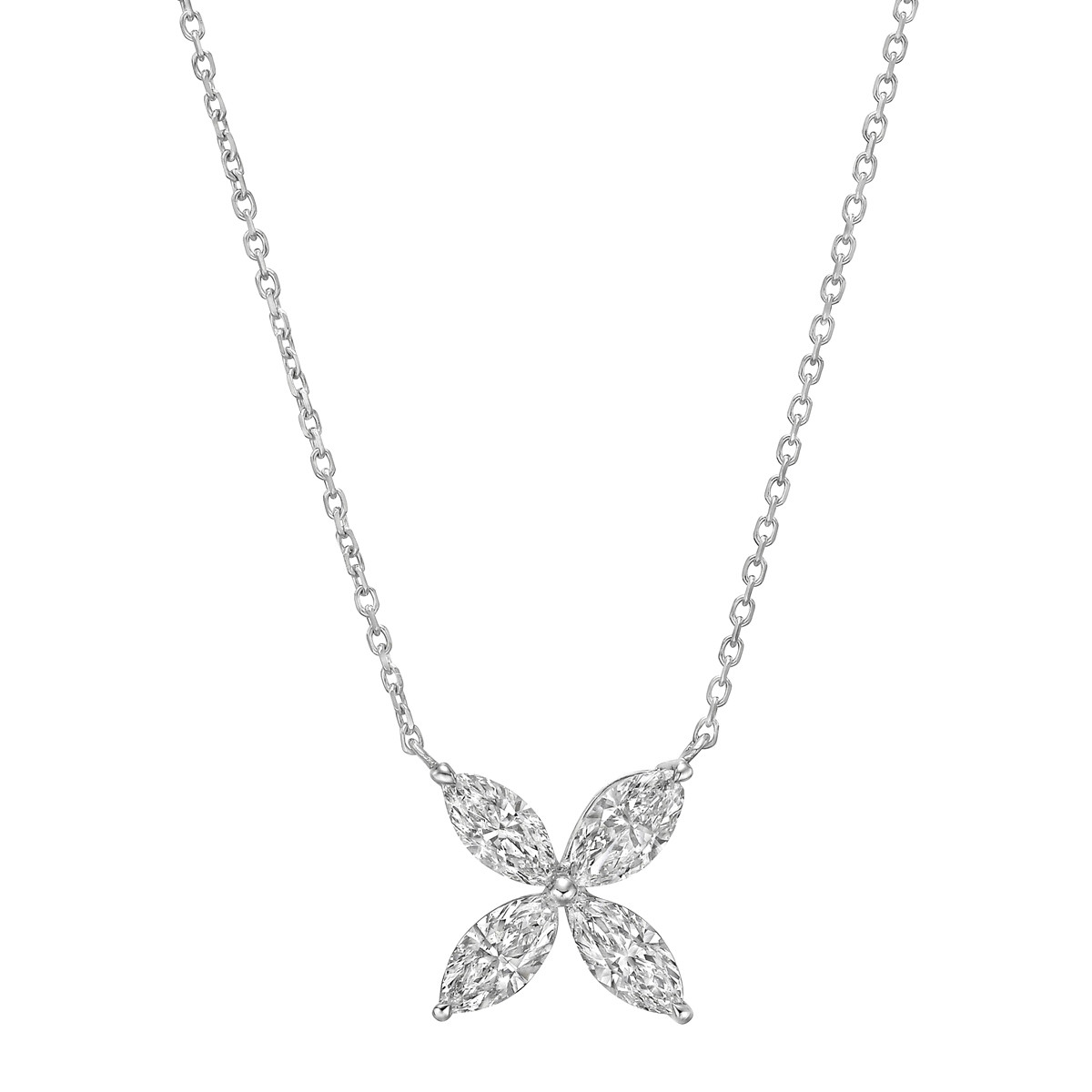 Medium Marquise Diamond Flower Pendant