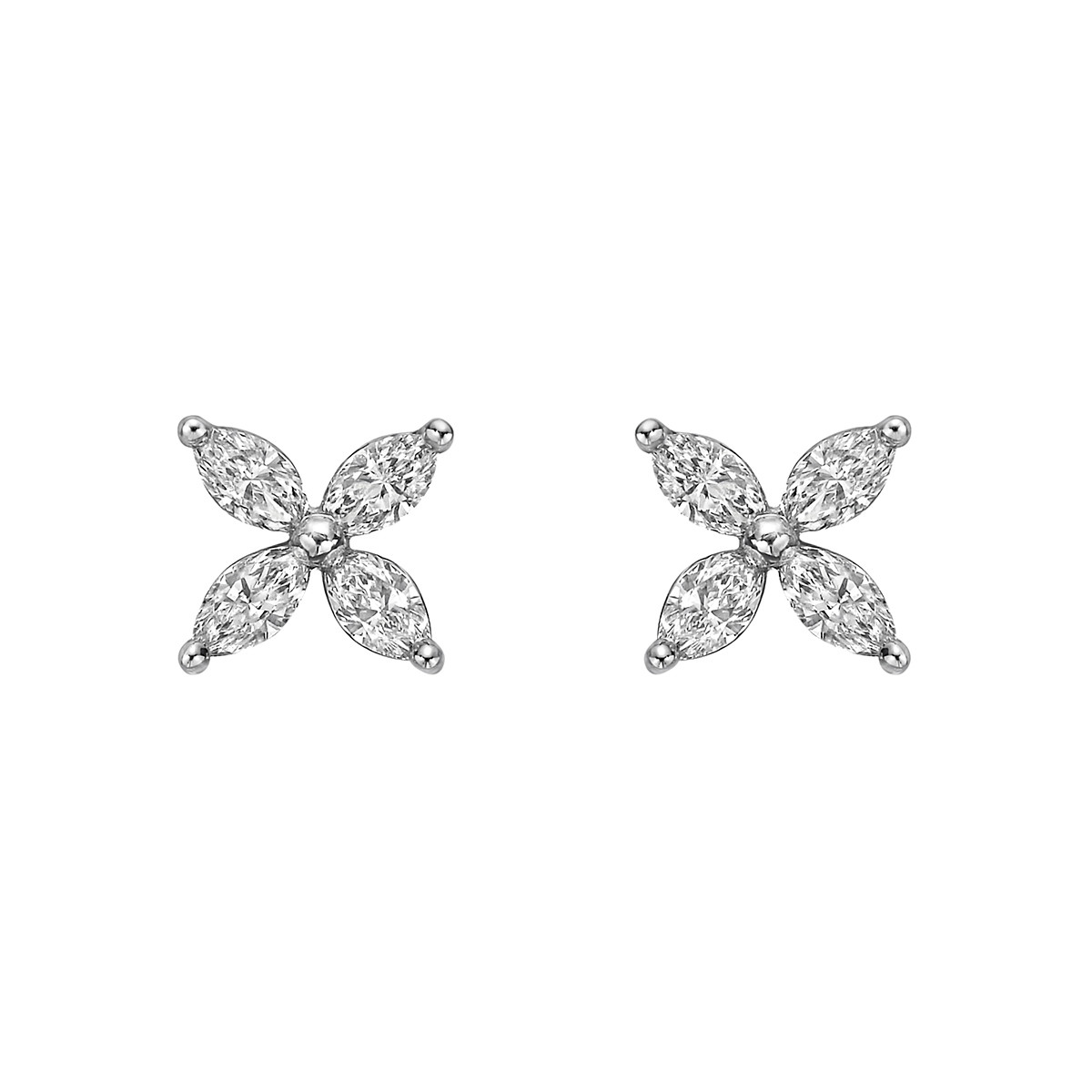 Marquise Diamond Flower Stud Earrings